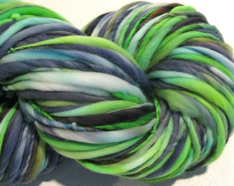 Bulky Handspun Yarn Strange Brew 146 yards hand dyed merino wool navy green yarn waldorf doll hair knitting supplies crochet supplies