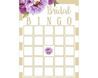 Digital Printable Bridal Shower Bingo Game with Purple Flowers on Gold BNG002