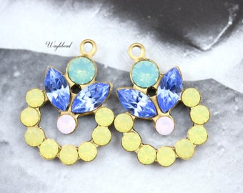 Vintage Swarovski Crystal Rhinestone Flower Leaf Pendant Dangle Pacific Opal Light Sapphire Yellow Opal and Rose Water Opal 16x21mm - 2