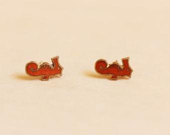Seahorse Stud Earrings, Seahorse Studs, Red Studs, Enamel Studs, Beach Studs, Ocean Studs, Animal Studs, Red Enamel Studs, Studs