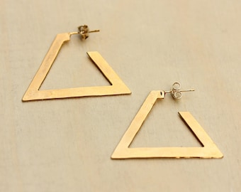 Large Triangle Hoops, Triangle Hoop Earrings, Hoop Earrings, Gold Hoops, Triangle Earrings, Gold Triangle Earrings, Small Gold Hoops, Hoops