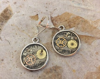 Recycled, Upcycled, Repurposed, Steampunk, Watch Parts, Gears, Round Bezel, Resin, Dangle Earrings, with Newsprint