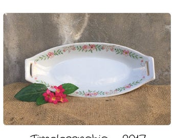 Vintage Oval Dish - Hand Painted Dish - Oval Tray - Vintage Tray - Catchall - Floral Dish - Oval Dish - Serving Dish  - Shabby Chic Dish -