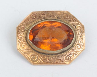 Victorian Topaz Glass Collar Pin Chased Design Smaller