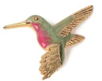 Enameled Hummingbird Pin Green Red Brooch Vintage