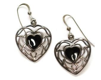 Onyx Heart Dangle Earrings Sterling Silver Pierced Ears Filigree Vintage