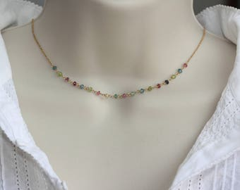 Tourmaline Multicolored Delicate Necklace, Choker, Birthday Gift for Wife, Dainty Summer Necklace, for Sister, for layering, for Girlfriend