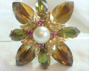 20% Sale Jewelry Regal Vintage Brooch Earth Tones Gold Green Pink Faux Pearl