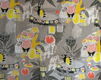 Moomin  Cotton Fabric for various projects, from Finland, yellow, gray 70x10cm