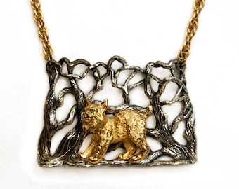 1972 Eugene Bertolli Napier Endangered Species Series Bobcat/Lynx Handcrafted Vintage Pendant Statement Necklace Rare