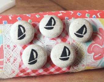 Chic Simple Little Nautical Marine Black Geometric Sailboats On Off White-Handmade Fabric Covered Buttons(0.55 Inches, 5PCS)