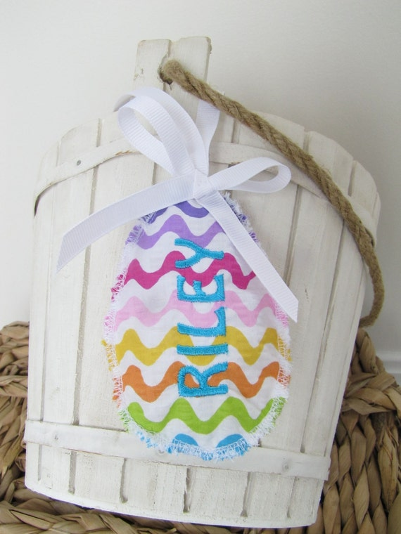 Easter Basket Name Tag Personalized Embroidered Egg