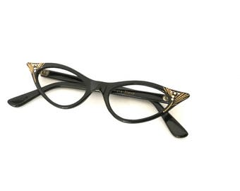 Winged Gilded Black Cat Eye Glasses Frame Horn Rimmed CatsEye Eyeglasses NEVer Used Spectacular NOS 50s 60s Rhinestone Batwing Sunglasses