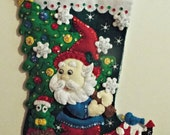 "Handmade Completed/Finished Bucilla Gnome 18"" Christmas felt stocking 86577 with free personalization"