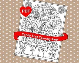 Cute Coloring Page Kawaii Candy Tree PDF Printable
