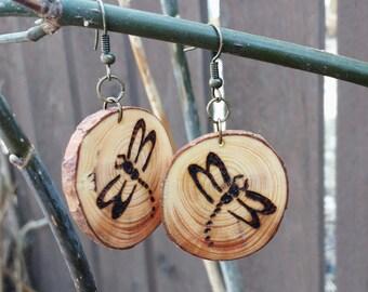 Dragonfly Earrings, Pine Wood Earrings, Wood Burned Tree Slice Earrings