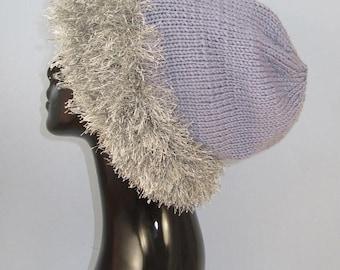 50% OFF SALE Instant Digital File PDF Download Knitting pattern -  Faux  Fun Fur Slouch Hat pdf download knitting pattern