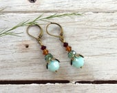 Mint Green And Amber Swarovski Crystal Earrings