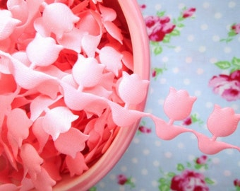 Pink Tulips Cut Out Ribbon/Trim - 7/8 inch - 2 Yards
