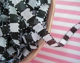 Check Ribbon - Black and White - 1/2 inch - 3 Yards