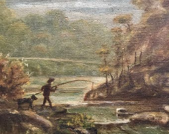 Antique oil Painting Dog and boy fishing, on Canvas,