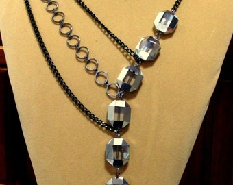 SALE  Asymmetrical Black Chain Chunky Silver Painted Glass Beads necklace and Earring Jewelry set