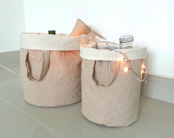 Linen Laundry Bag/ Linen Hamper/ Grocery Basket/Cloth organizer/ Toy Storage/ Country Home decor