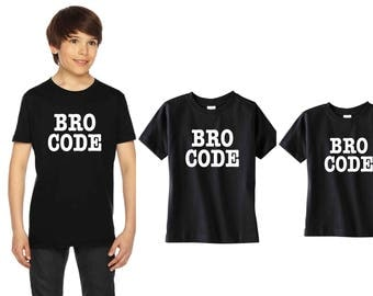 Cool trio Bro Code shirt set, Set 3 sibling tshirts, tshirt printing, sibling, for big brother little brother, custom shirts, graphic tees