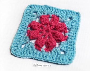 Crochet Motifs- Granny Square Crochet Pattern- Crochet Flower for Granny Square Blanket