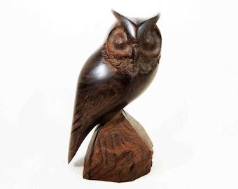 Vintage Mid Century Modern Walnut Owl Carving. Circa 1950's - 1960's.