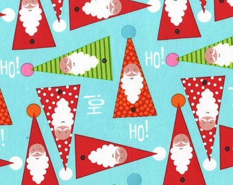 Michael Miller Fabric Holiday Row Collection, Oh Ho No in Aqua