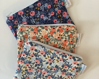 Reusable Machine Washable Zippered BPA-Free Snack-Loc Large Sandwich Small Snack Bag - Rifle Paper Co Petite Fleurs Floral Blue Peach White