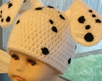 Baby Dalmatian, Infant Crochet Hat