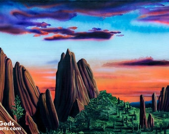 Garden Of The Gods - Print of Surreal Abstract Landscape Art by Mr Mizu