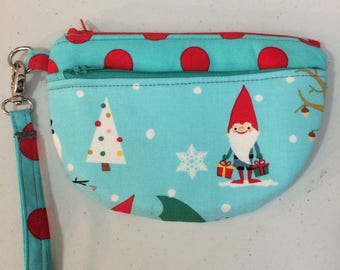 Gnome Zippered Pouch, Manhattan Zip Case, Gnome bag, Wristlet
