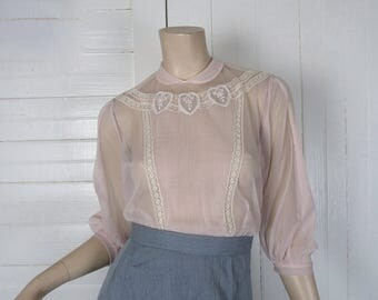 50s Sheer Pink Blouse- 1950s Peter Pan Collar- Nylon- Fine Pleats & Hearts