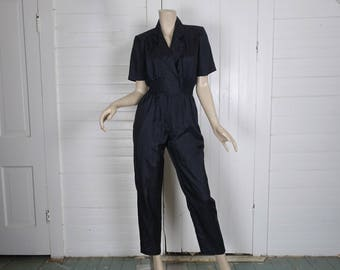 80s Black Jumpsuit in Swishy Fabric- 1980s Punk / Office / New Wave- Small- Short Sleeve