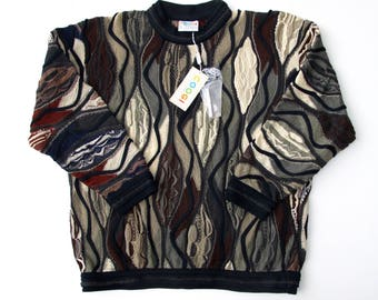 90s COOGI Australia Sweater XL, NOS Cotton 12 Colors Fall Earth Tones, Long Sleeve Crew Neck Sweater, Hipster Textured Pullover X-Large