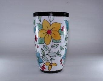 Handprinted China Extra Tall Latte Mug, China Painting, Floral motif, SKU172-2