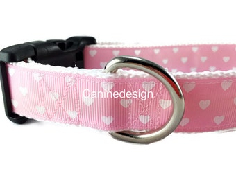 Valentine's Dog Collar, Hearts Pink, 1 inch wide, adjustable, quick release, metal buckle, chain, martingale, hybrid, nylon