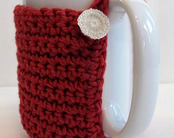 Crochet Mug Cozy in Brick Red with Vintage Button, Coffee Lovers, Stocking Stuffer