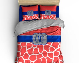 Personalized Giraffe Animal Skin Bedding, Monogrammed- Any Color, Shown Coral and Cobalt, available all bed sizes, duvet or comforter