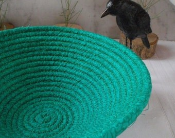 Dark Green Coiled Fabric Basket - Catchall, Organizer, Handmade by Me, Heart Chakra