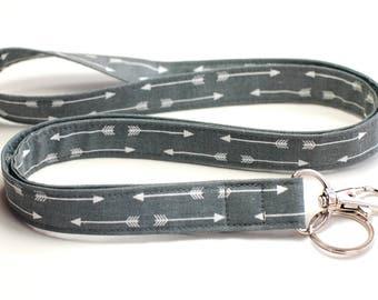 Fabric Lanyard - Preppy Grey Arrows Neck Lanyard - Tribal Fashion Key and ID Badge Lanyard - Cotton Lanyard - Breakaway Lanyard Option