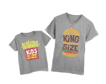 Father Son Matching Shirts - King Size Burger & Small Fries Tees - Heather Gray Tri-Blend- Unisex Adult Crew Neck Infant Baby Kids Sizes