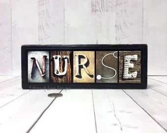 Nurse Gift - Nurse Gift Ideas, Nurse Wood Sign, Nurse Graduation Gift, RN Gifts, Registered Nurse Gifts, Nursing School Student, Medical Art