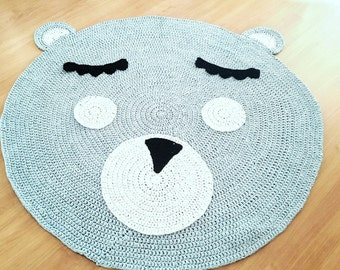 Crochet Teddy Bear Nursey Rug For Kids And Babies Room Decoration