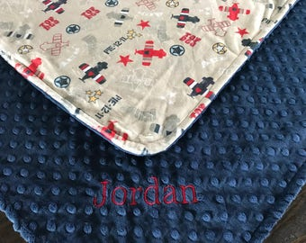 New - Vintage Military and Navy Blue Minky Baby Blanket - 29 x 30 - baby gift - baby boy - Shower gift