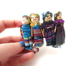 Ethnic / Tribal Vintage Unmarked Multicolor Colorful Cloth Worry Doll / Prayer Doll Silver Tone Metal Hair Clip / Hair Barrette