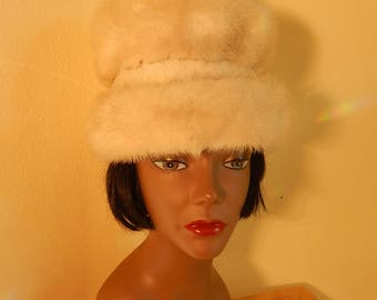 blonde mink hat, PERFECT, Pom poms, satin lining, hats by evelyn